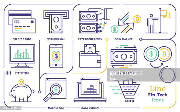 financial technology line icon set - cryptocurrency stock illustrations