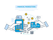 Financial transactions, cashless operation on payment. Pos terminal, payments systems