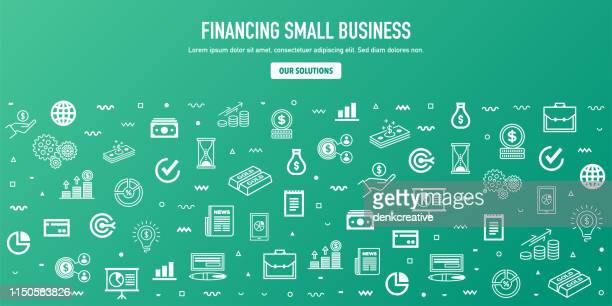 financing small business outline style web banner design - accountancy stock illustrations