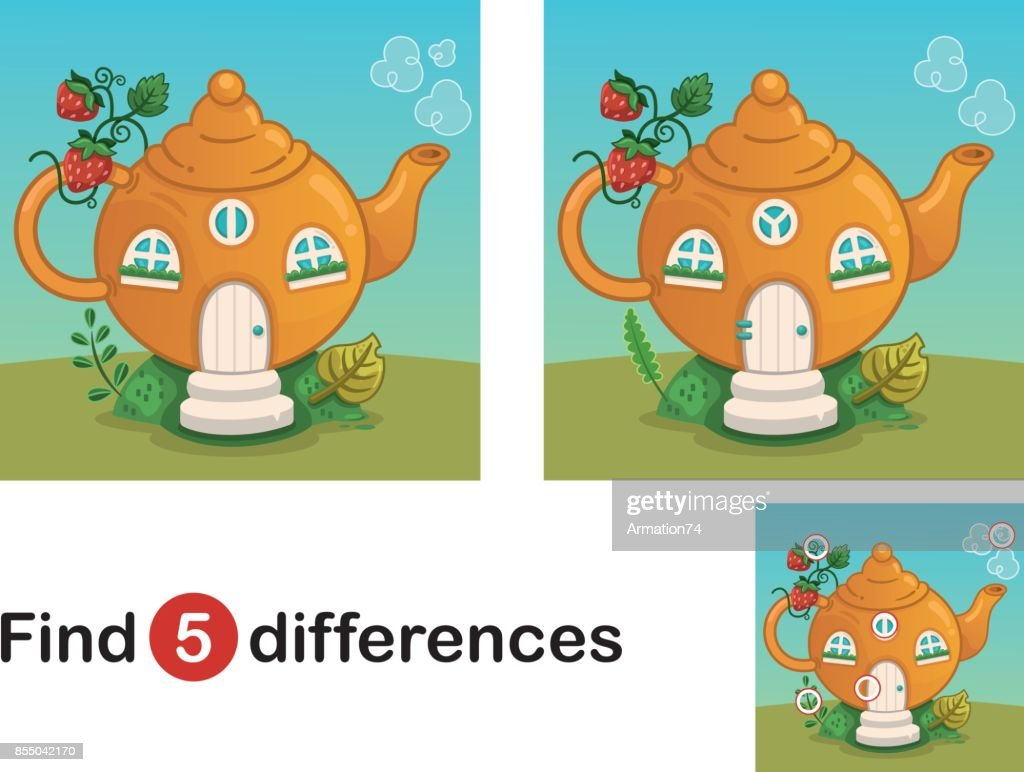 Find 5 differences education game for children