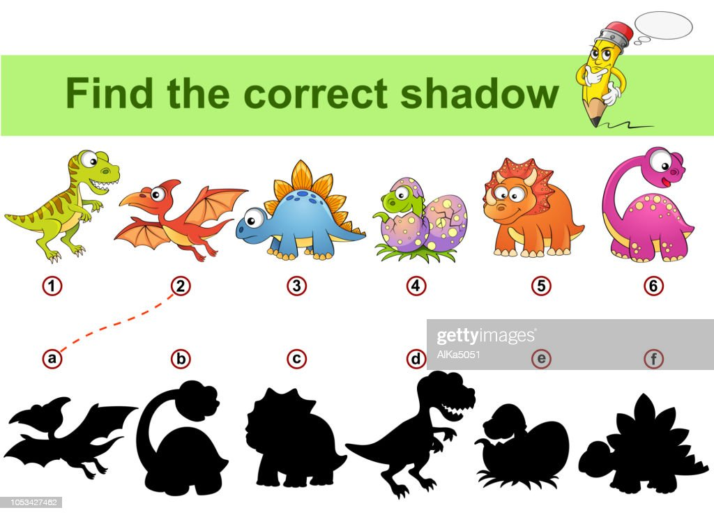 Find correct shadow. Kids educational game. Dinosaurs