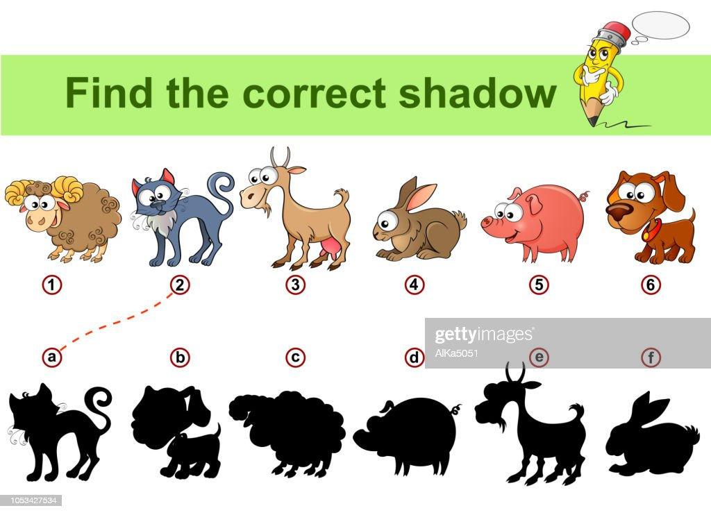 Find correct shadow. Kids educational game. Farm animals. Sheep, cat, goat, rabbit, dog, pig