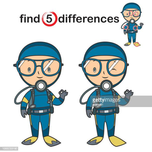 find differences. diver child - scuba diving stock illustrations