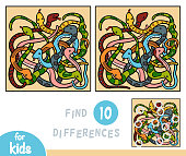 Find differences, education game for children, Eight snakes