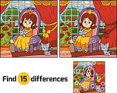 Find differences for children. Little princess sitting on a thro
