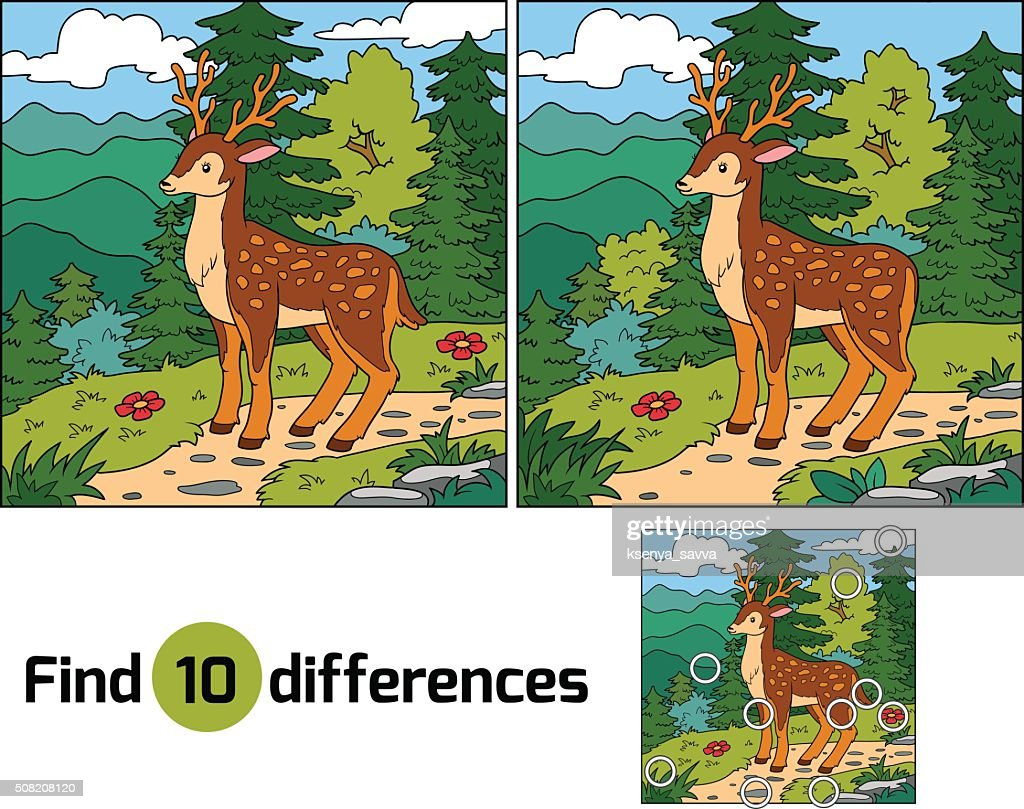 Find differences for children (deer and background)