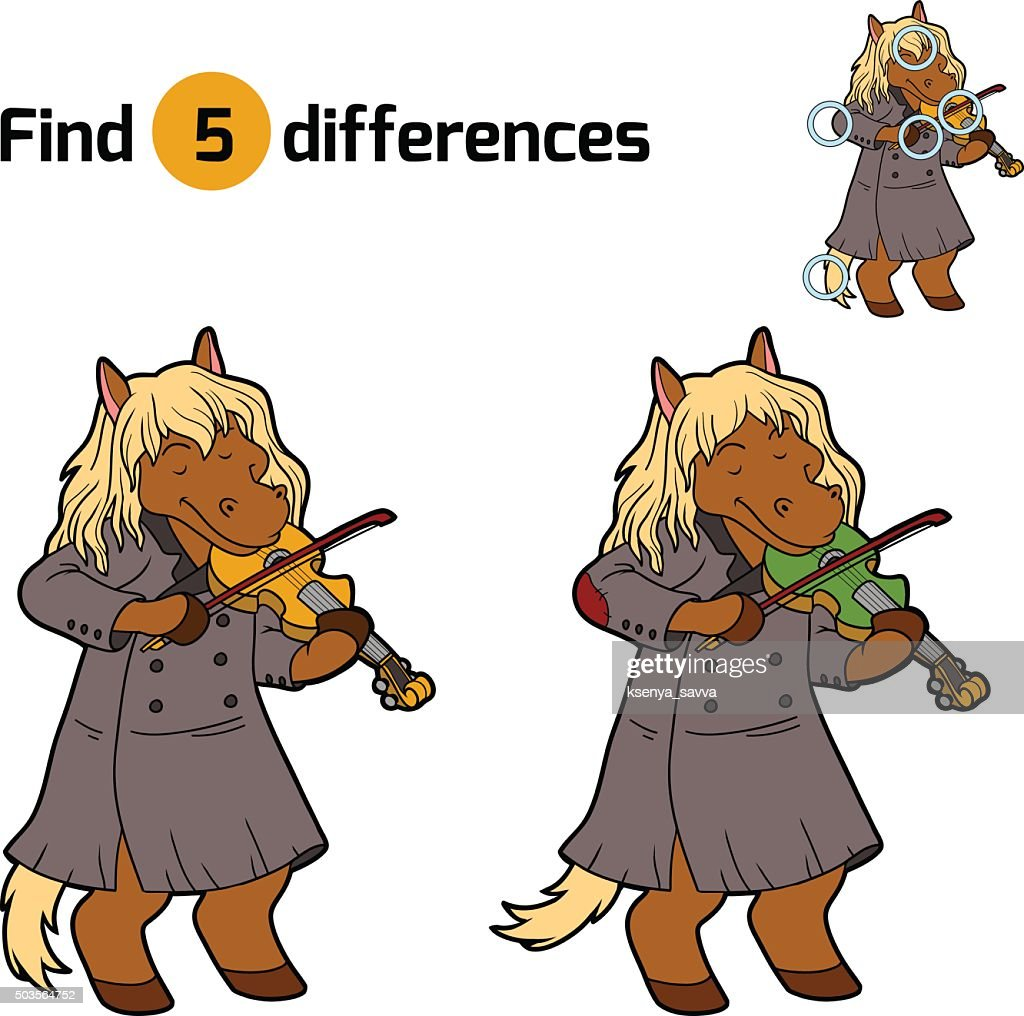 Find differences, game for children (horse and violin)