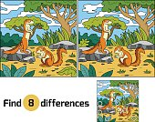 Find differences, game for children (xerus and background)