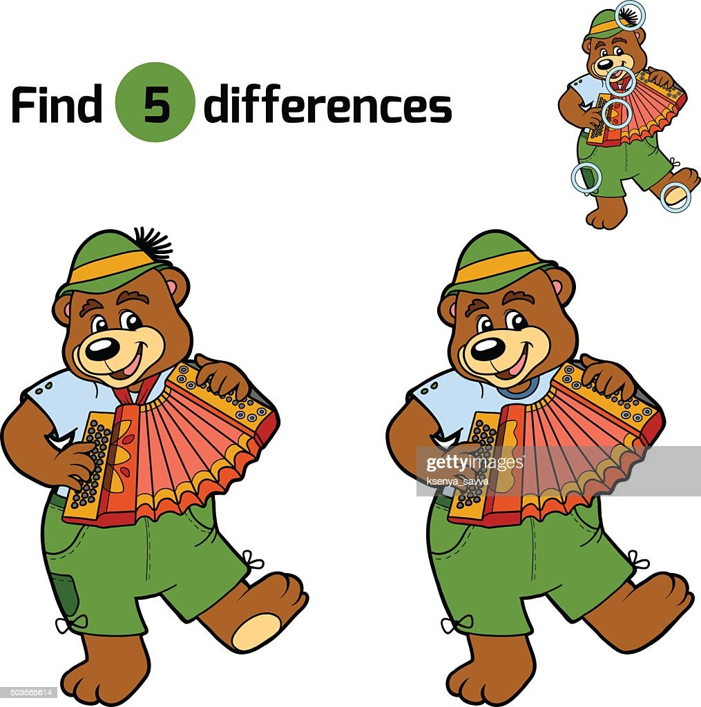 Find differences, game for children (bear and accordion)