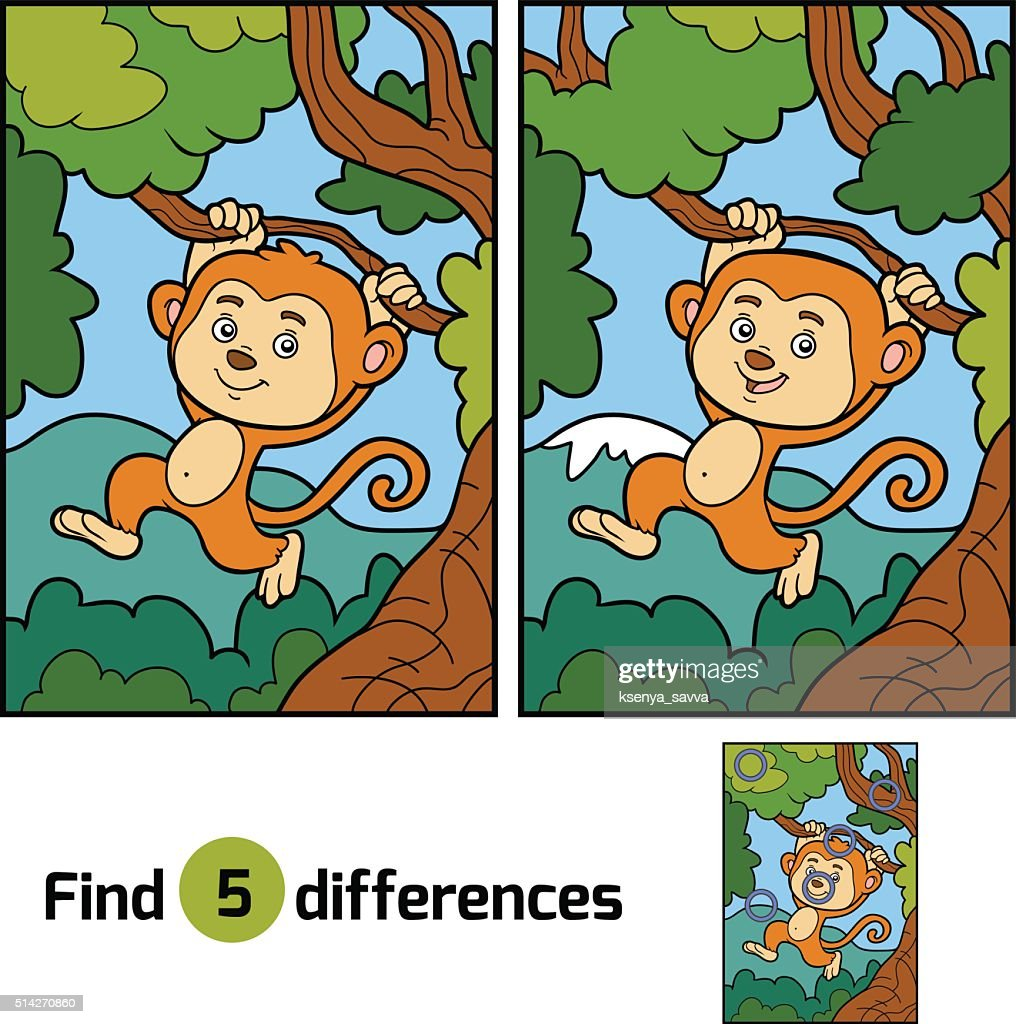 Find differences, game for children (monkey and background)