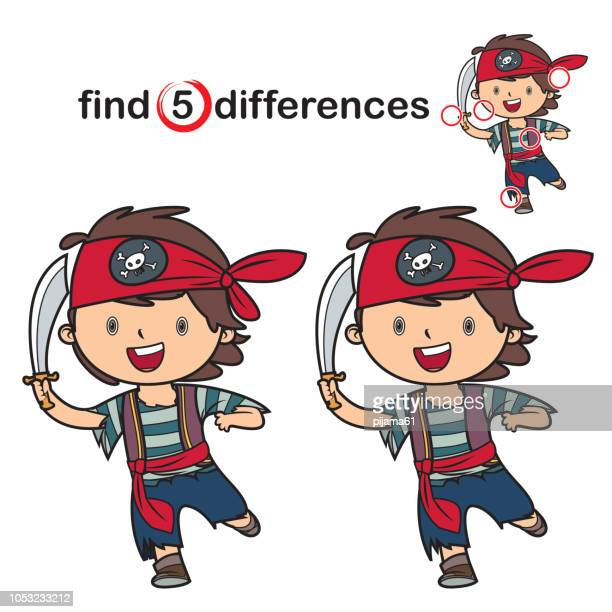 find differences: little boy pirate - personal accessory stock illustrations