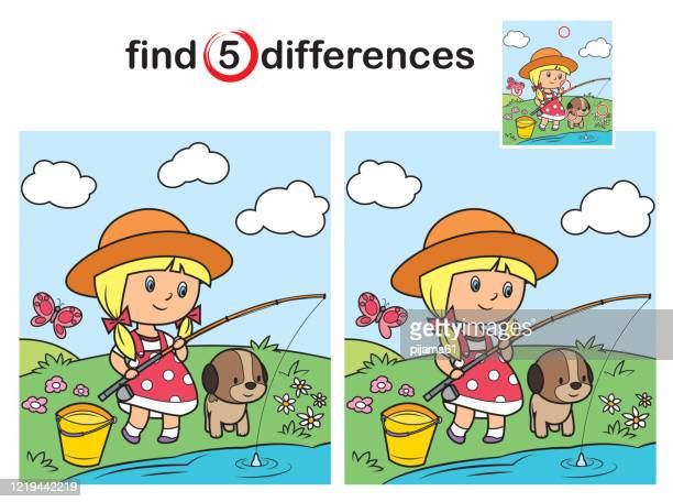 illustrazioni stock, clip art, cartoni animati e icone di tendenza di find differences, little girl fishing - attività