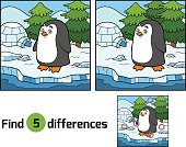 Find differences (penguin and background)