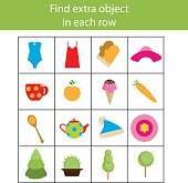 Find extra object in row. Educational children game, printable activity
