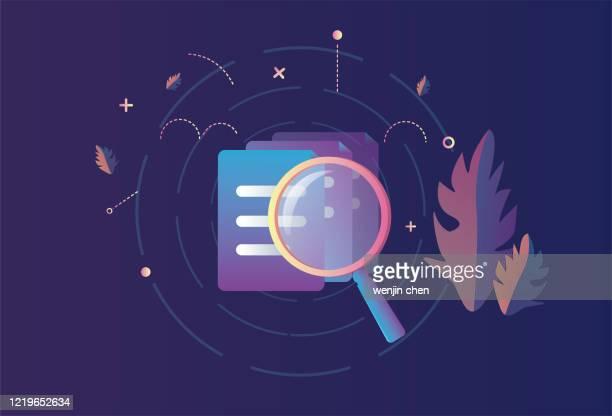 illustrazioni stock, clip art, cartoni animati e icone di tendenza di trovare file con una lente d'ingrandimento - rapporto finanziario