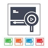 Find playlist item flat round icon