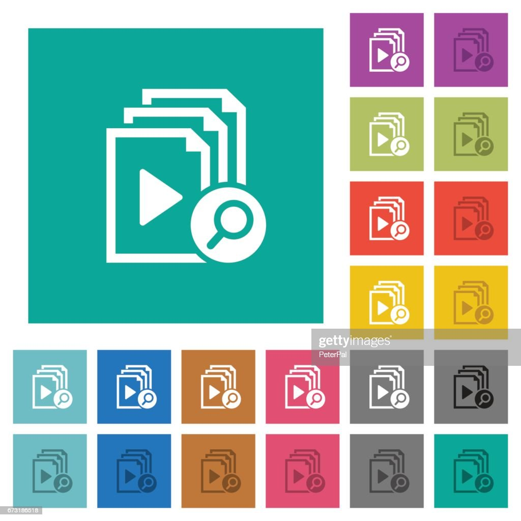Find playlist item square flat multi colored icons