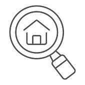Find Real Estate Company thin line icon, real estate and home, search home sign vector graphics, a linear pattern on a white background, eps 10.