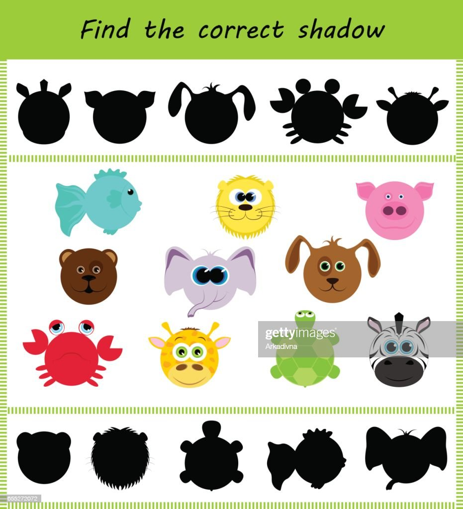 Find the correct shadow: different faces of animals