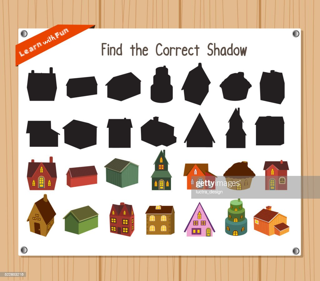 Find the correct shadow, education game - Christmas house