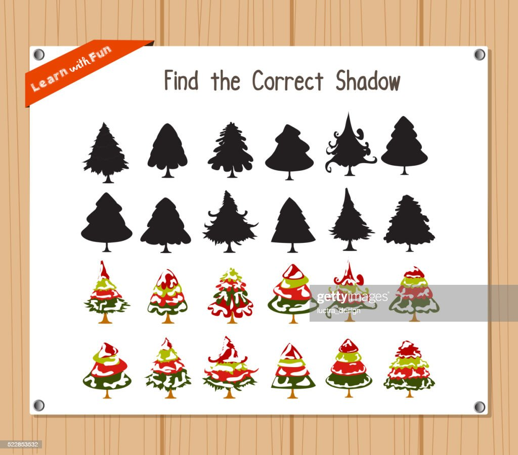 Find the correct shadow, education game - Christmas tree