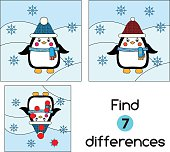 Find the differences educational children game. Kids activity sheet, with