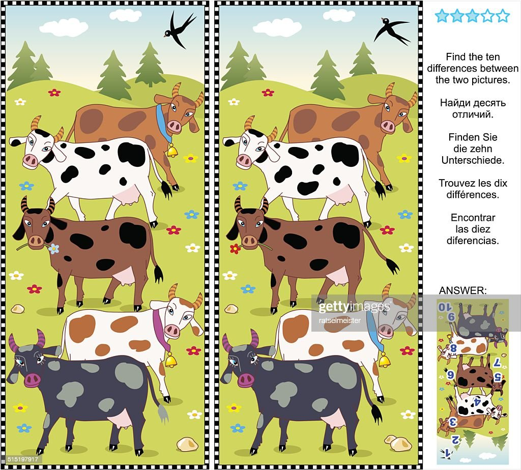 Find the differences visual puzzle - cows