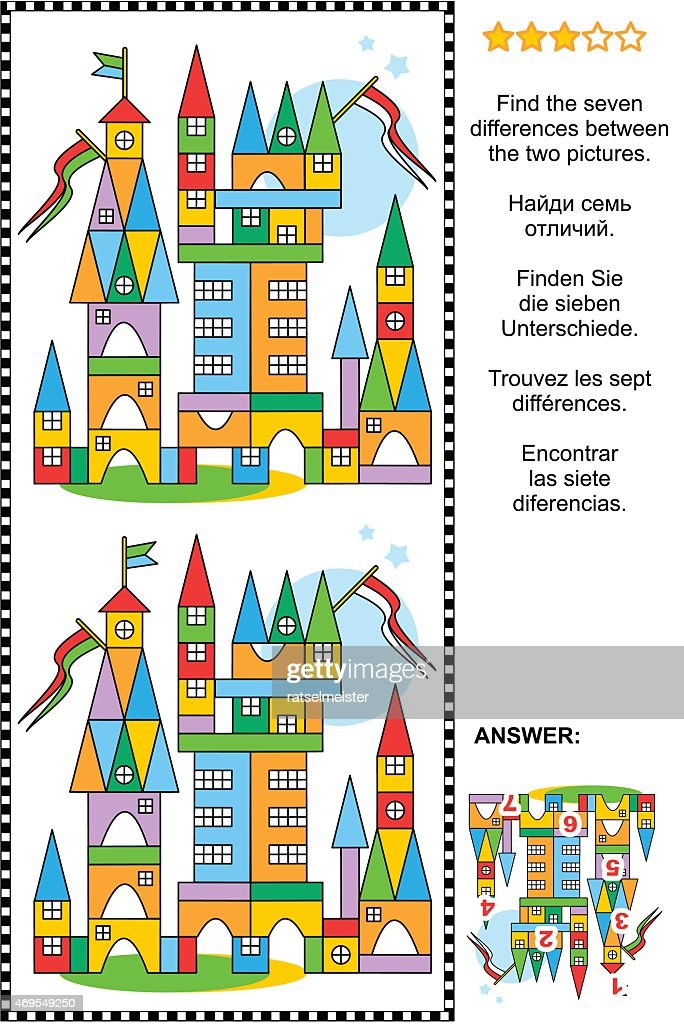 Find the differences visual puzzle - toy town