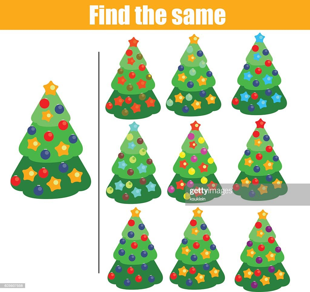 Find the same pictures children educational game. Christmas tree, new