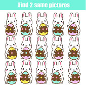 Find the same pictures children educational game. Find two identical cute Easter bunnies