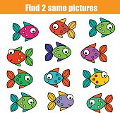 Find the same pictures children educational game with fishes