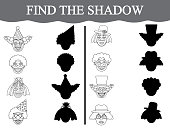 Find the shadows of clown's faces and color them. Visual educational game for preschool children.