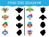 Find the shadows of clown's faces. Development of attention of children. Education. Vector illustration.
