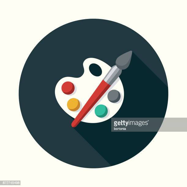 fine arts flat design education icon with side shadow - painted image stock illustrations