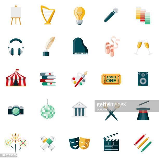 fine arts flat design icon set - theater industry stock illustrations, clip art, cartoons, & icons