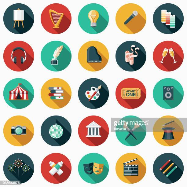 fine arts flat design icon set with side shadow - color image stock illustrations