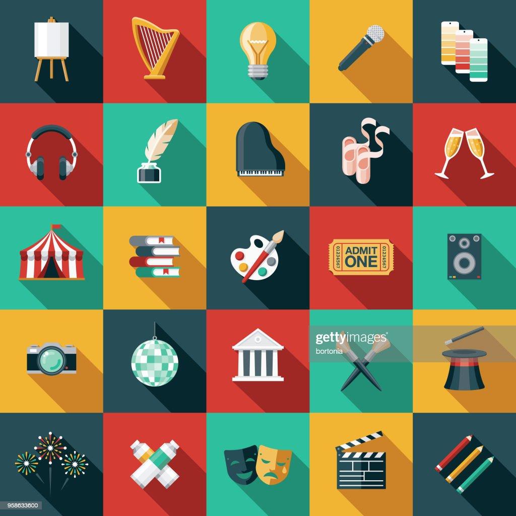 Schone Kunsten platte ontwerp Icon Set met kant schaduw : Stockillustraties