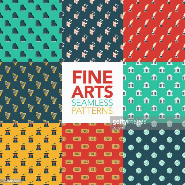 fine arts seamless pattern set - theater industry stock illustrations, clip art, cartoons, & icons