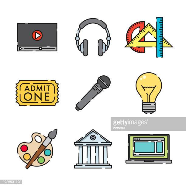 fine arts thin line icon set - theater industry stock illustrations, clip art, cartoons, & icons