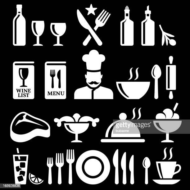 fine dining and restaurant knockout royalty free vector icon set - t bone steak stock illustrations, clip art, cartoons, & icons