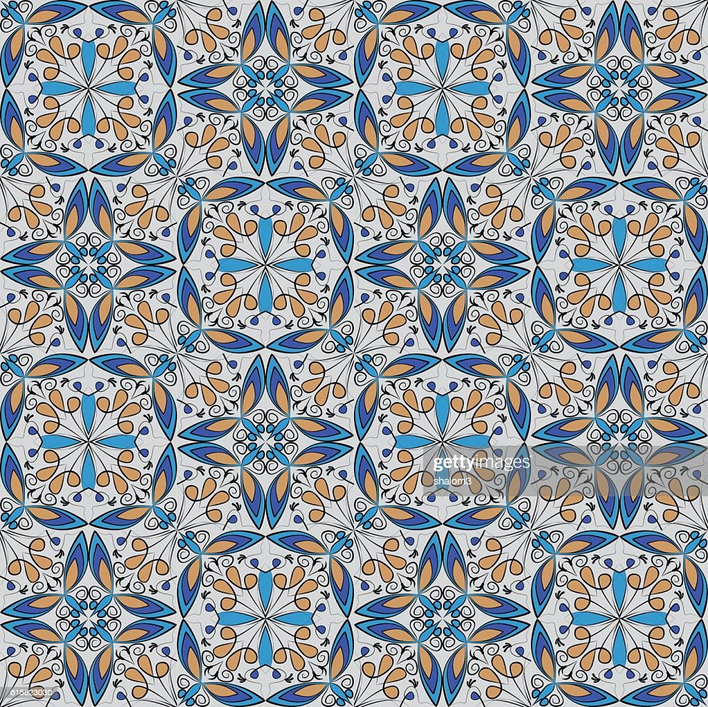 Fine oriental colorful carpet or ceramic ornament