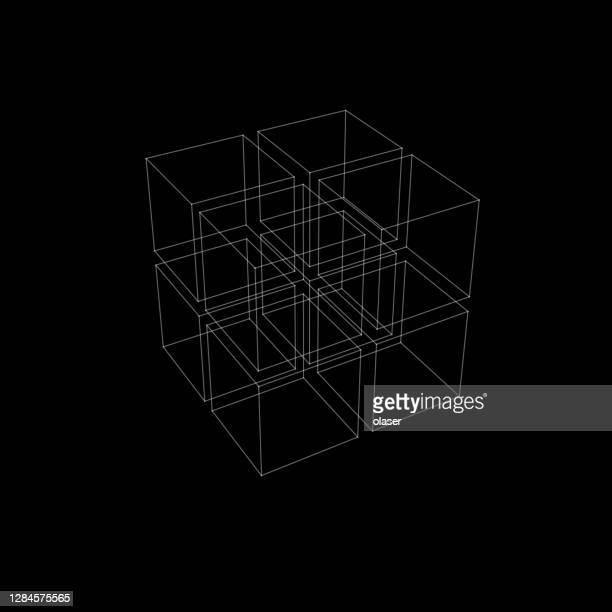 illustrazioni stock, clip art, cartoni animati e icone di tendenza di wireframe fine di 3x3x3 = 27 cubi grandi. con prospettiva. - modalità wire frame