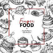 Finger food vector frame drawing. Catering service frame template for flyer, banner, poster.