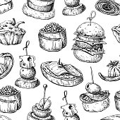 Finger food vector seamless pattern. Food appetizer and snack sketch. Canapes, bruschetta, sandwich drawing