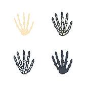 Finger hand human bone medicine vector flat line silhouette colored icon