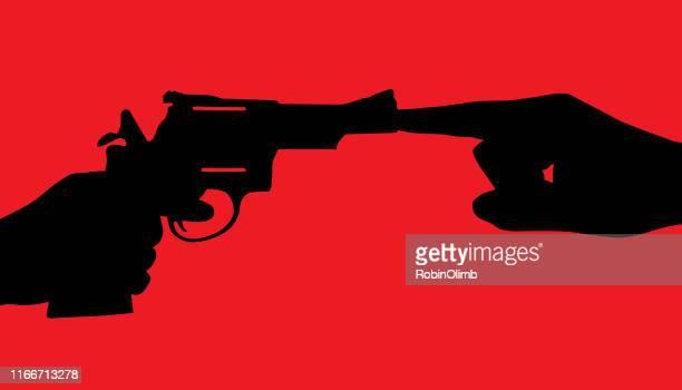 finger plugging barrel of handgun - killing stock illustrations