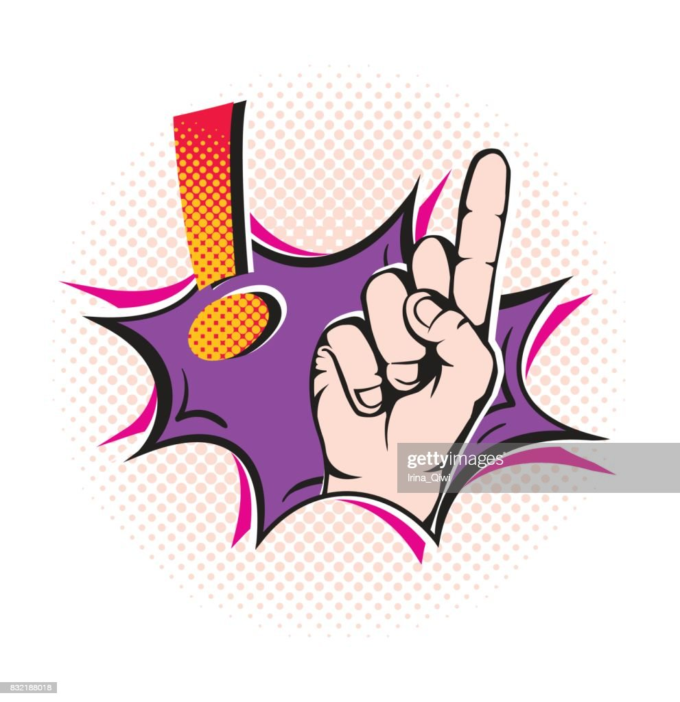 Finger pointing up with exclamation sign.Pop art style.