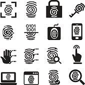 Finger print Security System icons set Vector illustration