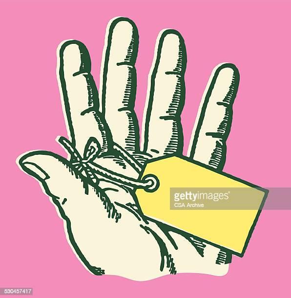 指、ブランクのタグにて