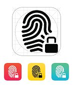 Fingerprint and thumbprint with lock icon